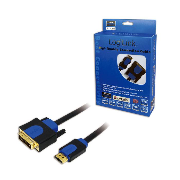 Cable HDMI/DVI Retail 5m Logilink CHB3105