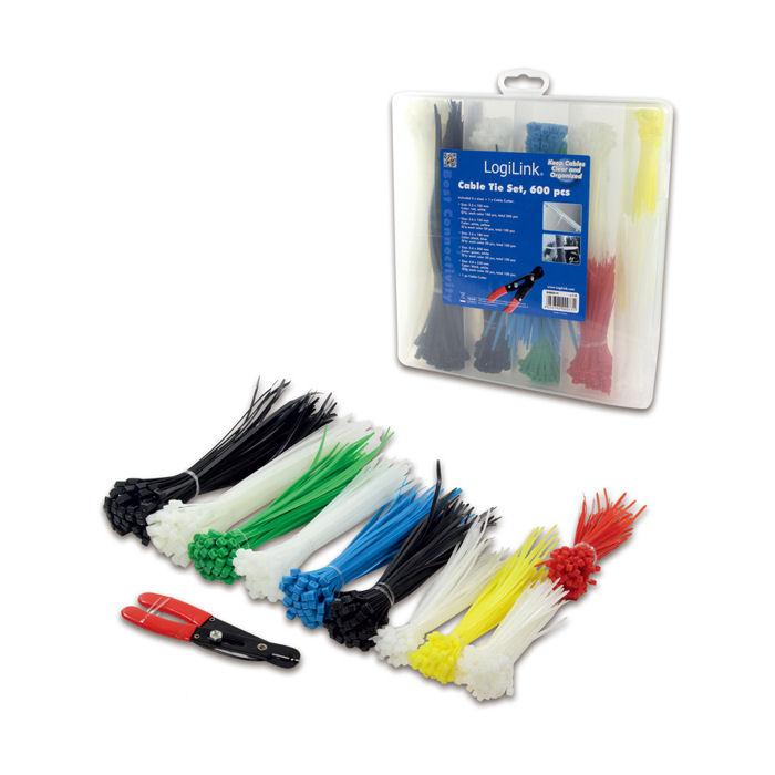 Cable Tie Set 5 len.600pcs+cutter Logilink KAB0019