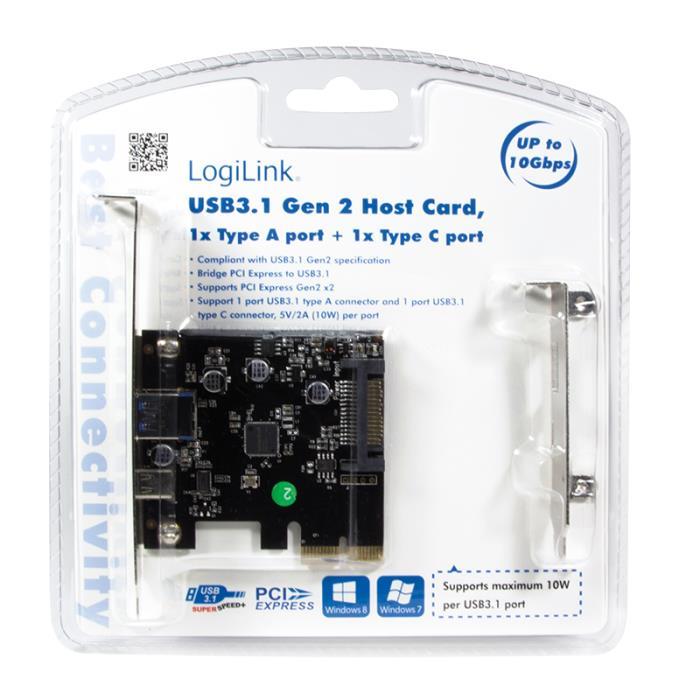 Pci Express to 1xUSB 3.1 Gen2 1xType-C  Logilink PC0081