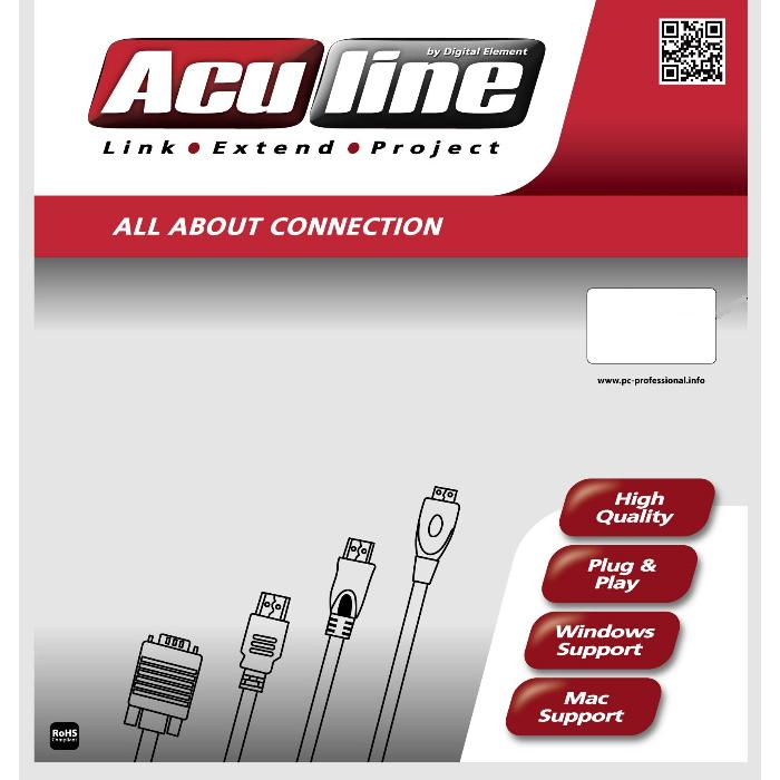 Cable USB M/F 5m Aculine USB-003