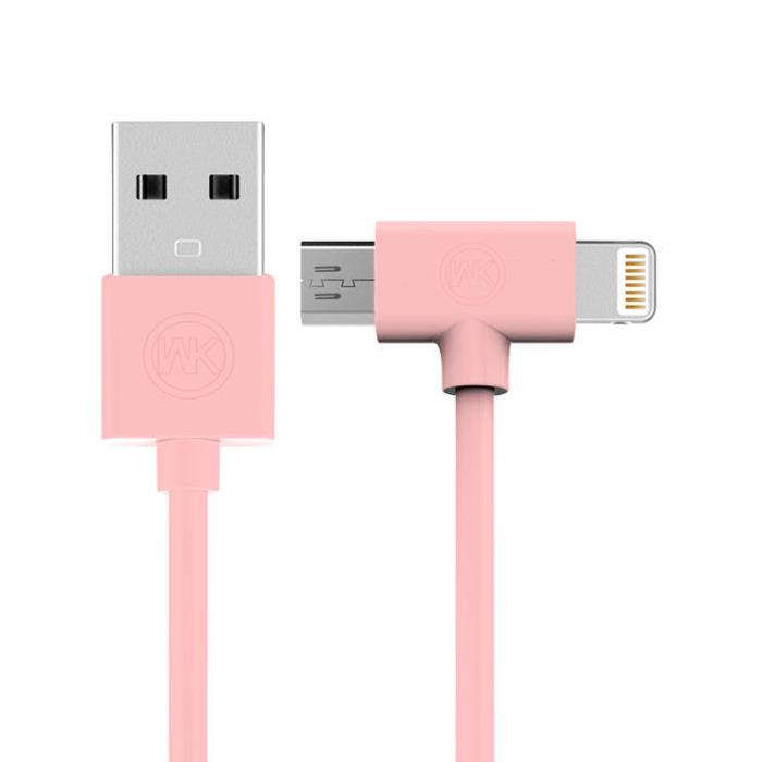 Charging Cable WK 2in1 I6/Micro Pink 1m AXE