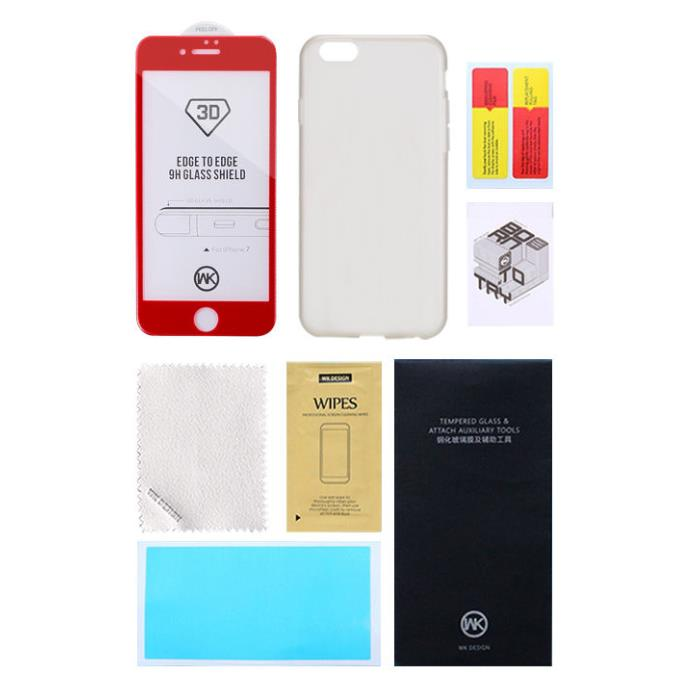 Tempered Glass WK for A5 2017 Thunder + Phone Case Gold