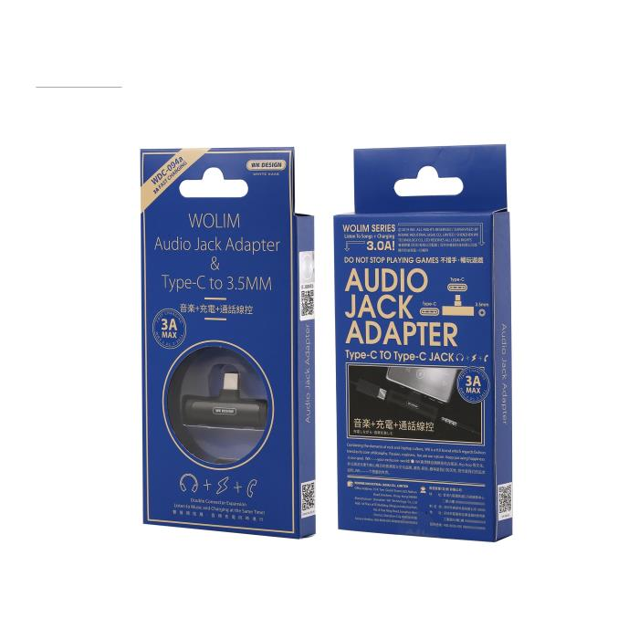 Adaptor Type C 2in1 3.5mm & Type C WDC-094a Black