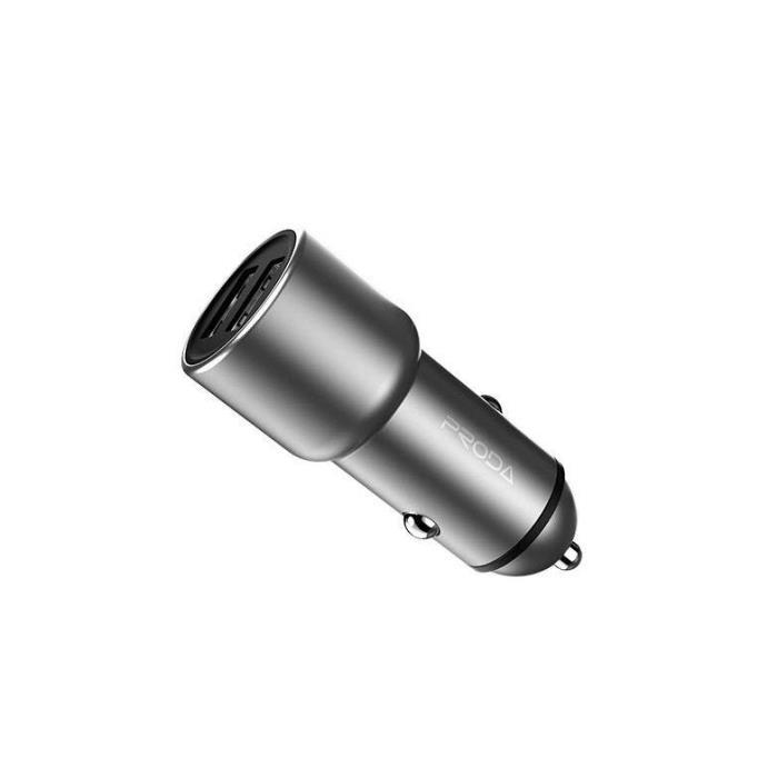 Car Charger WK Dual USB 2.4A & QC3.0 Silver WP-C21