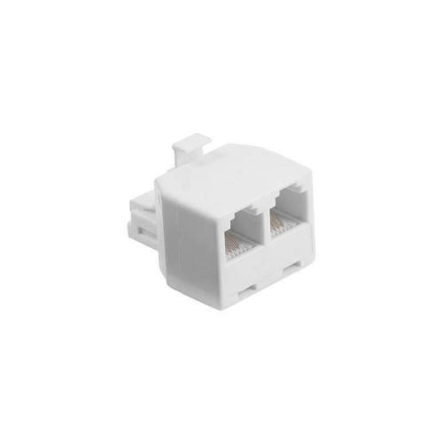 Adapter 6P4C Male/ 2x Female White (Bulk)