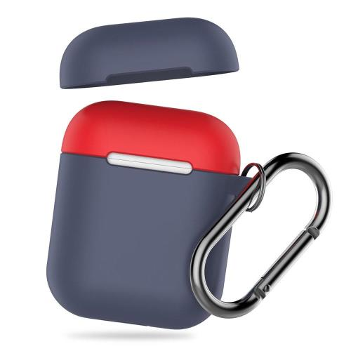 Silicon Case AhaStyle PT46 Apple AirPods Tone with Hook Navy Blue-Red